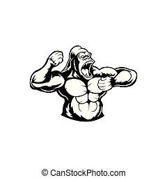 Angry gorilla head, Black and white illustration of gorilla ...