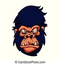 Angry gorilla head cartoon