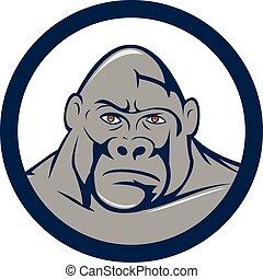 Angry Gorilla Head Circle Cartoon - Illustration of an angry...