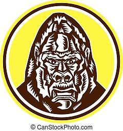Angry Gorilla Head Circle Woodcut Retro - Illustration of an...