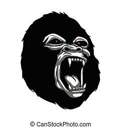 Angry gorilla head.ape head character illustration logo icon...
