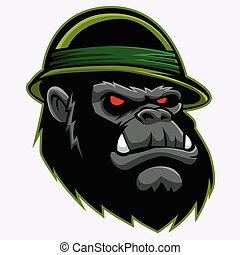 Angry Gorilla Head .vector illustration.
