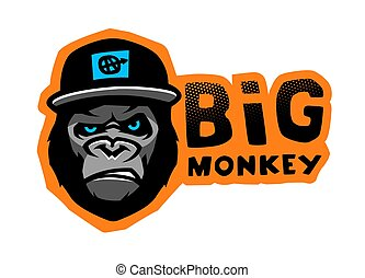 Angry gorilla head in the baseball cap on a dark background. Vector illustration.