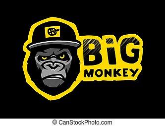 Angry gorilla head in the baseball cap. Vector illustration.