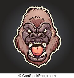 Angry gorilla mascot. Vector clip art illustration with...