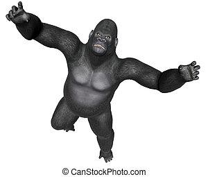 Angry gorilla jumping - 3D render - Angry gorilla jumping...