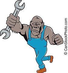 Angry Gorilla Mechanic Spanner Cartoon Isolated -...