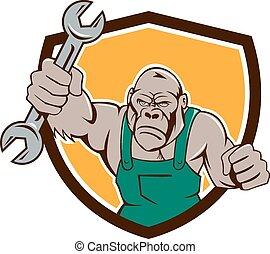 Angry Gorilla Mechanic Spanner Shield Cartoon - Illustration...