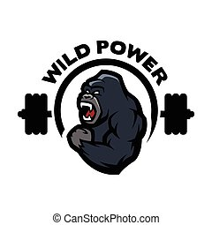 Angry gorilla. Sports gym logo. Vector illustration