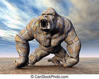 Angry Gorilla - Computer generated 3D illustration with an...