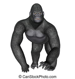 Angry gorilla walking - 3D render - Angry gorilla walking...