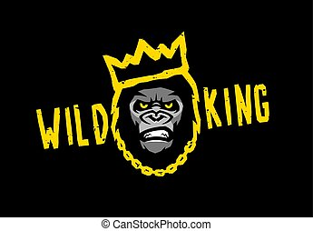 Angry gorilla with a crown. Wild king on a dark background. Vector illustration.