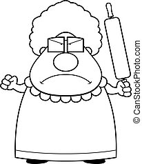 A cartoon grandma with an angry expression.