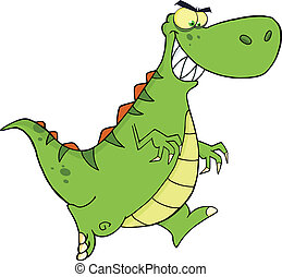 Angry Green Dinosaur