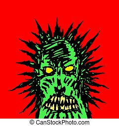 angry green face of a demon. vector illustration
