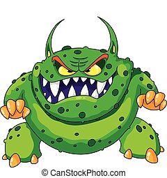 angry green monster - illustration of a angry green monster