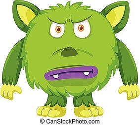 Angry green Monster white background