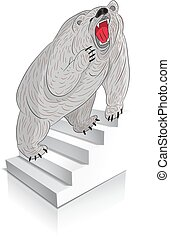 Angry grizzly bear (gray) climbs the stairs, cartoon on a white background.