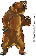 angry grizzly bear - grizzly bear, aggressive roaring pose, ...