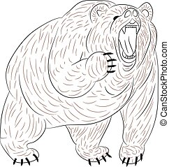 Angry grizzly bear growls, silhouette on white background.