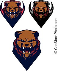 Angry Grizzly Bear Sport Logo Vector Template.