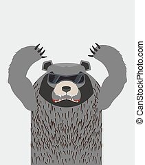 Angry grizzly bear with glasses.