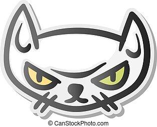 Angry grumpy cat emoji face, vector illustration.