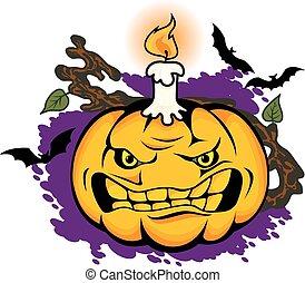 Angry halloween pumpkin
