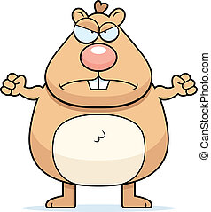 Angry Hamster - A cartoon hamster with an angry expression.