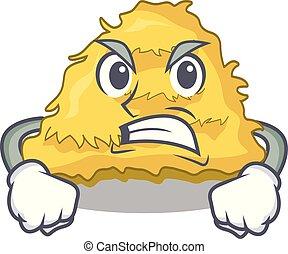 Angry hay bale mascot cartoon vector illustration