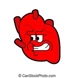Angry heart Anatomical. Evil Internal organ isolated. Terrible Anatomy Vector illustration