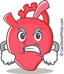 Angry heart character cartoon style