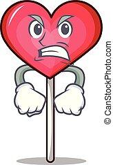 Angry heart lollipop mascot cartoon