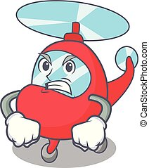 Angry helicopter mascot cartoon style