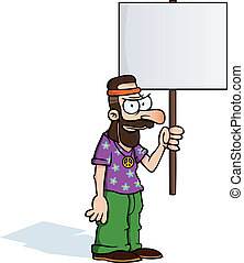 Angry hippie with protest sign