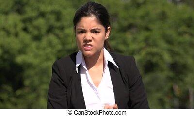 Angry Hispanic Business Woman