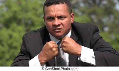 Angry Hispanic Male Business Man