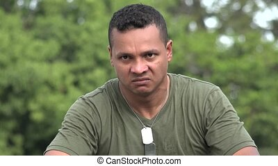 Angry Hispanic Male Soldier