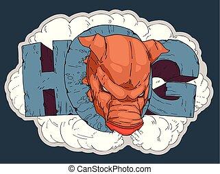 angry hog sign