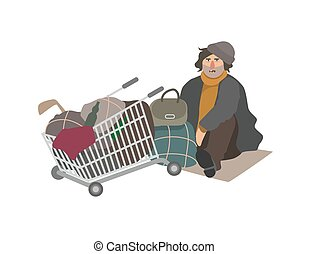 Angry homeless man dressed in shabby clothes sitting on cardboard sheet on street beside shopping cart full of old junk and trash. Cartoon character isolated on white background. Vector illustration.