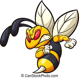 Angry hornet, wasp, or bee mascot clip art. Vector ...