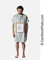 angry hospital patient isolated with clipping path