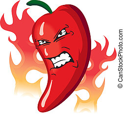 Angry Hot flaming red pepper