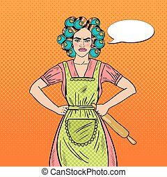 Angry Housewife Pop Art Woman Holding Rolling Pin. Vector illustration