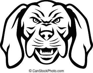 Angry Hungarian Vizsla Dog Head Mascot Black and White