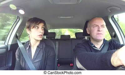 Angry Husband And Wife Fight In Car - Married white couple...