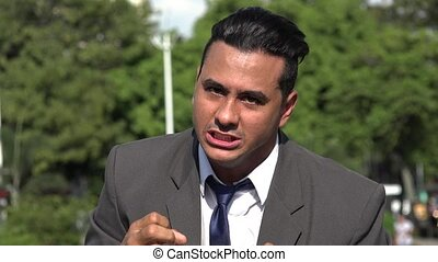Angry Irate Hispanic Business Man