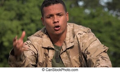 Angry Irate Hispanic Male Soldier Wearing Camo