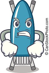 Angry iron board mascot cartoon vector illustration