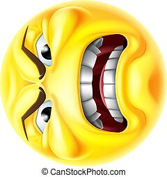 An angry jealous or mad emoticon cartoon face hating something icon